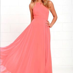 MYTHICAL KIND OF LOVE CORAL PINK MAXI DRESS